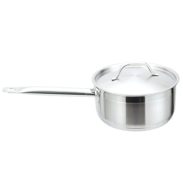 Strauss Pro Ind Low Stainless Steel Sauce Pan with Lid by MyCuisina
