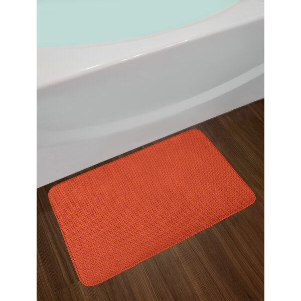 Abstract Scarlet Floral Bath Rug by East Urban Home