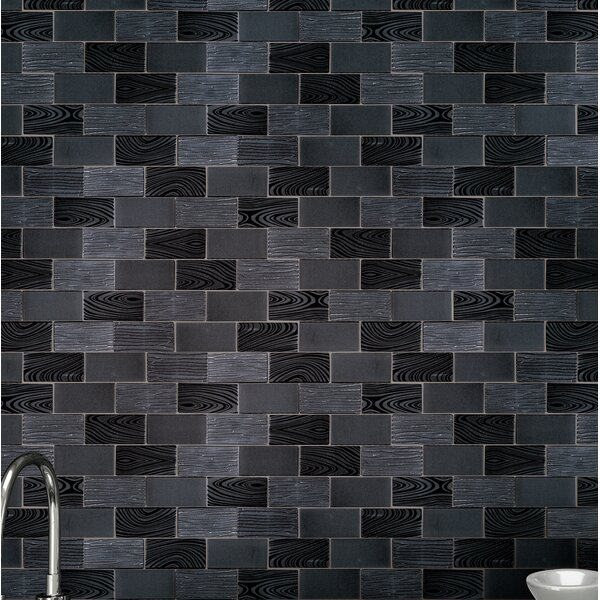 Wood Look Paint Effect 2 x 4 Glass Mosaic Tile in Gray/Black Metal by Multile