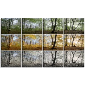 'Three Seasons Forest Panorama' Photographic Print Multi-Piece Image on Canvas by Design Art
