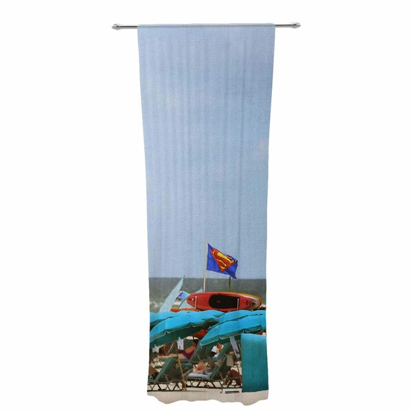 Angie Turner Superman At The Beach Decorative Graphic Print Text Sheer Rod Pocket Curtain Panels