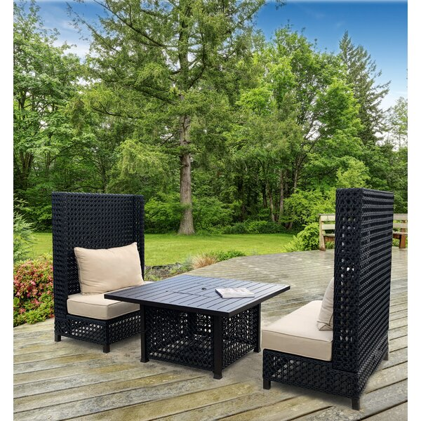 Lombards High Back 3 Piece Rattan with Sunbrella Cushions by Latitude Run