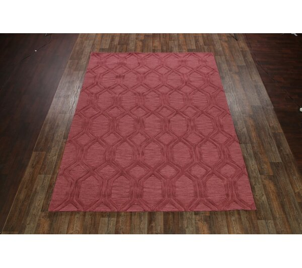 Bovill Moroccan Oriental Hand-Tufted Wool Pink Area Rug by Canora Grey