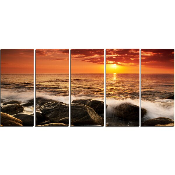 Bright Sunset over Rocky Shore 5 Piece Wall Art on Wrapped Canvas Set by Design Art