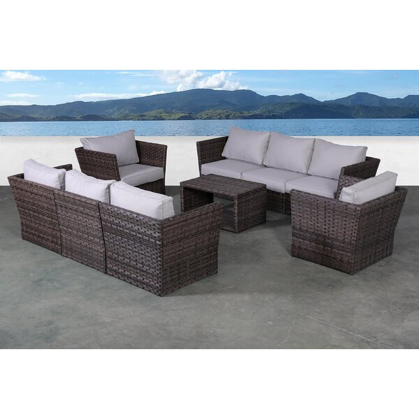 Irie 9 Piece Rattan Sectional Seating Group with Cushions by Highland Dunes