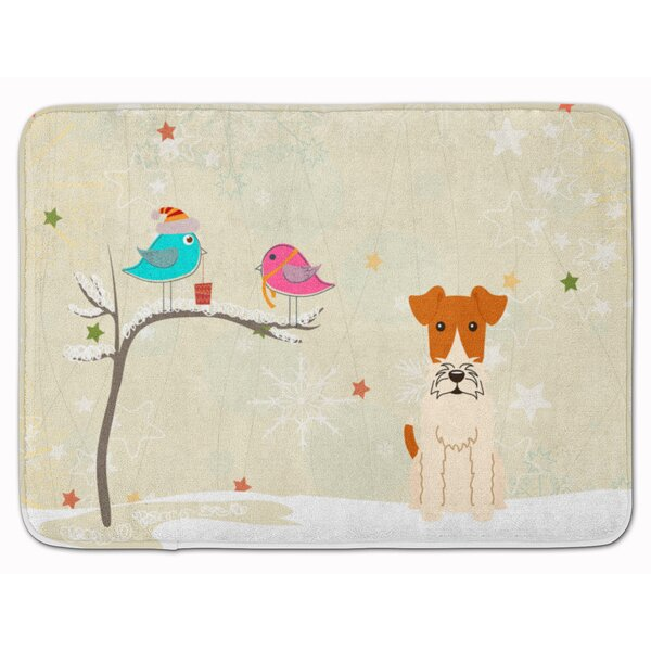 Christmas Presents Wire Fox Terrier Memory Foam Bath Rug by The Holiday Aisle