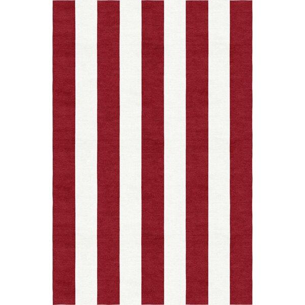 Watchman Stripe Hand-Woven Wool Wine Red/White Area Rug by Breakwater Bay