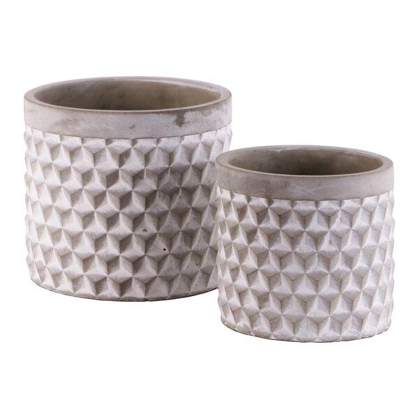 Epp Round Engraved Lattice Polygon 2-Piece Cement Pot Planter Set by Wrought Studio