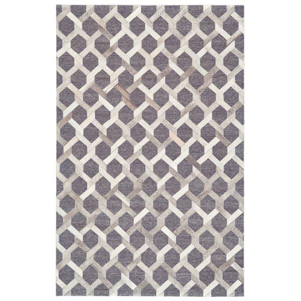 Grossi Hand-Woven Gray/Asphalt Area Rug by Wrought Studio
