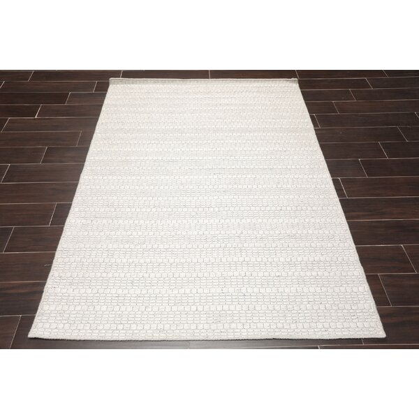Ebern Designs Hovnatan Geometric Handwoven Wool Off White Area Rug Wayfair