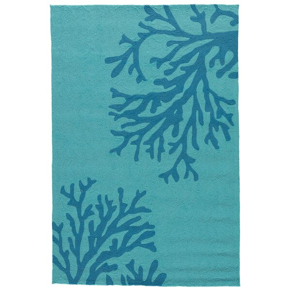 Exeter Conversational Hand-Hooked Blue Indoor/Outdoor Area Rug by Breakwater Bay