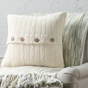Harrietstown Cable-Knit 100% Cotton Throw Pillow