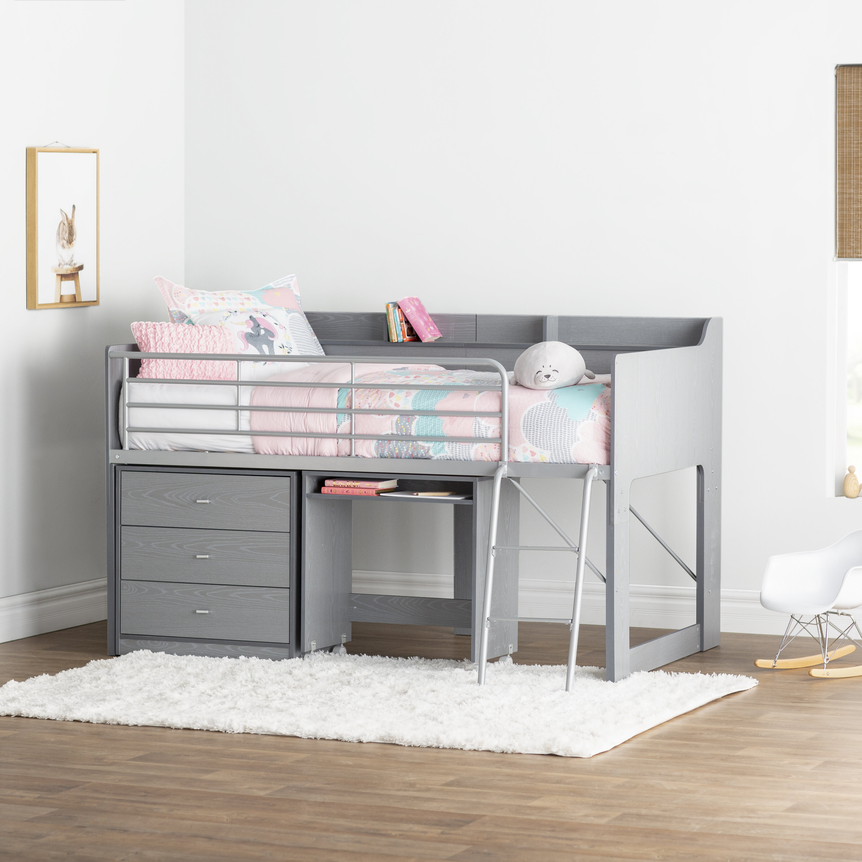 Picture of: Mack Milo Alcester Twin Low Loft Bed With Drawers Reviews Wayfair