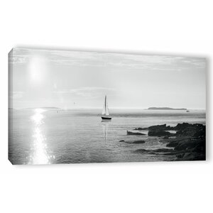 'Evening Sail Crop' Photographic Print on Wrapped Canvas in Black/White by Beachcrest Home