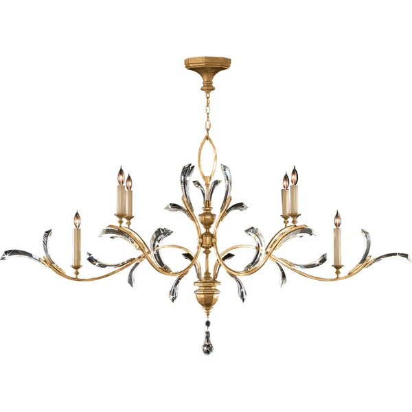 Beveled Arcs 6 - Light Candle Style Tiered Chandelier By Fine Art Lamps