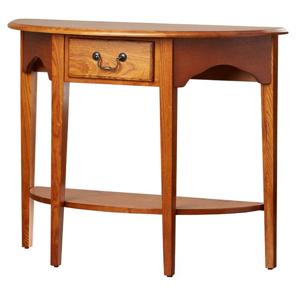 Charlton home apple valley demilune console table for Demilune console table with drawers