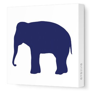 Silhouettes Elephant Stretched Canvas Art by Avalisa