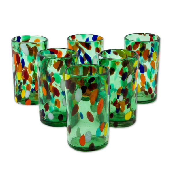 Bold Lime Fiesta 16 oz. Everyday Glasses (Set of 6) by Novica