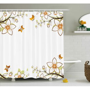 Find for Walnut Leaves Branches Buds Shower Curtain ByWinston Porter