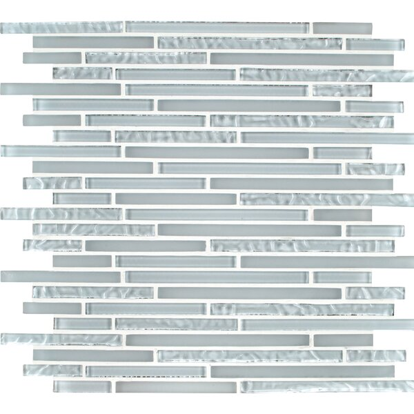 Ice Floe Blend Interlocking Glass Mosaic Tile in White by MSI
