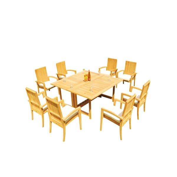 Mathena 9 Piece Teak Dining Set by Rosecliff Heights