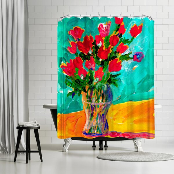 Sunshine Taylor Roses Shower Curtain by East Urban Home