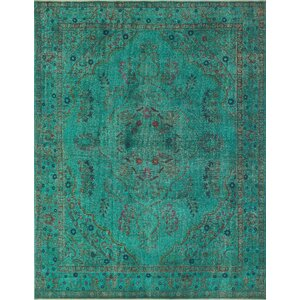Saylor Vintage Distressed Overdyed Teal Hand Knotted Wool Green Area Rug