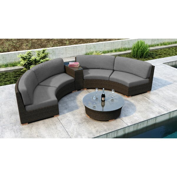 Glen Ellyn 4 Piece Rattan Sunbrella Sectional Seating Group with Cushion by Everly Quinn Everly Quinn