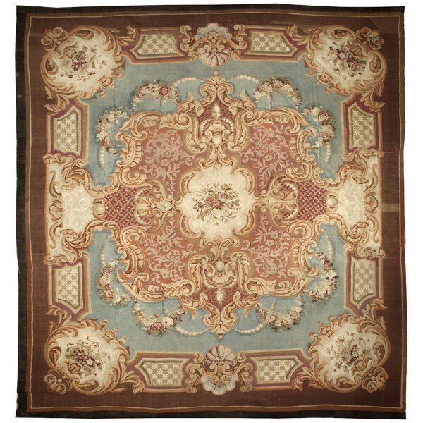 One-of-a-Kind Hand-Knotted Before 1900 Brown 14' x 15' Wool Area Rug