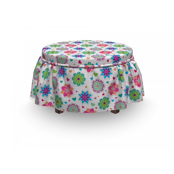 Retro Chamomiles And Hearts 2 Piece Box Cushion Ottoman Slipcover Set By East Urban Home