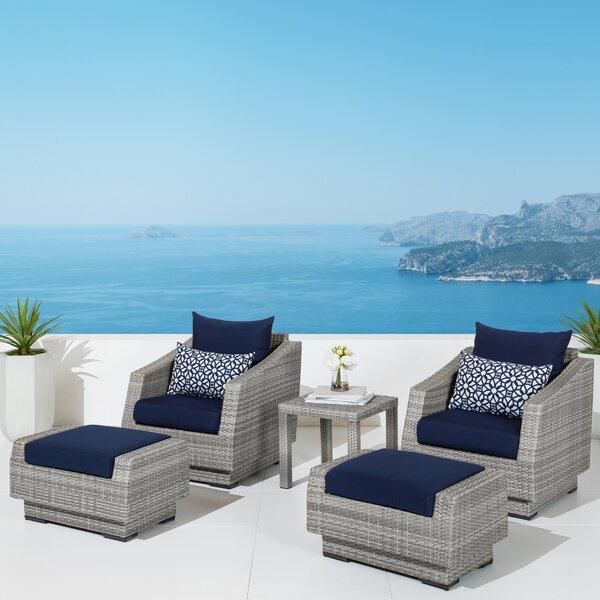 Castelli 5 Piece Rattan Conversation Set with Cushions Wade Logan WDLN3571