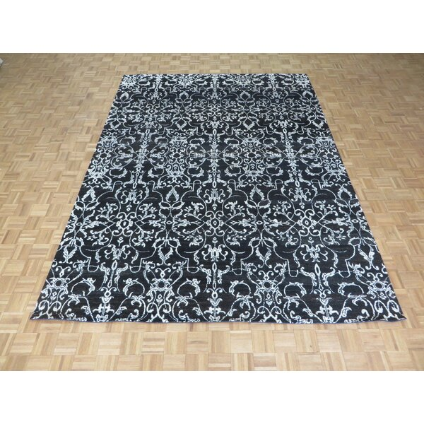 One-of-a-Kind Josephson Damask Hand-Knotted Black Area Rug by Canora Grey