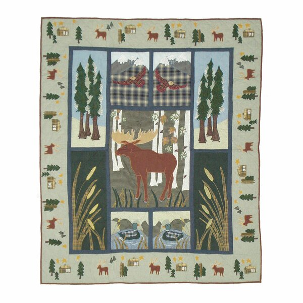 Lorraine Moose Cotton Throw Quilt by Millwood Pines