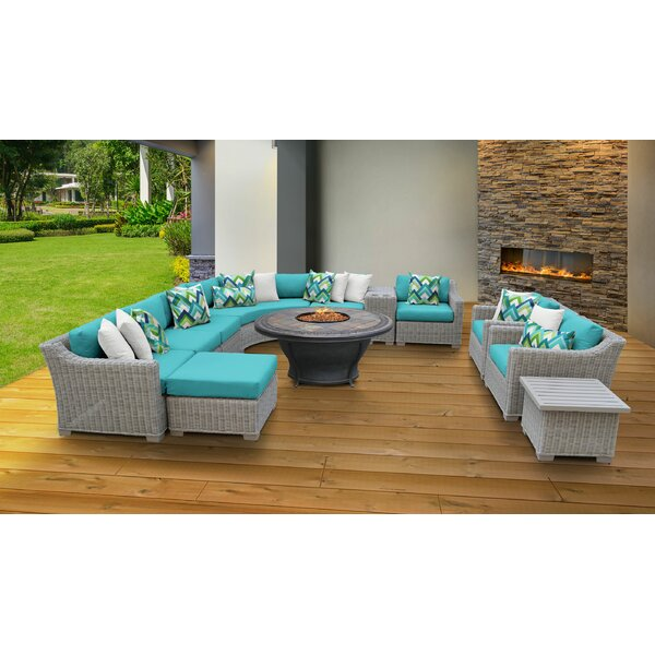 Claire 12 Piece Rattan Sectional Seating Group with Cushions by Rosecliff Heights Rosecliff Heights