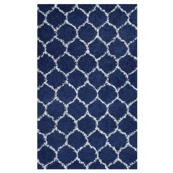 Eleftheria Moroccan Trellis Navy Blue/Ivory Area Rug by Wrought Studio
