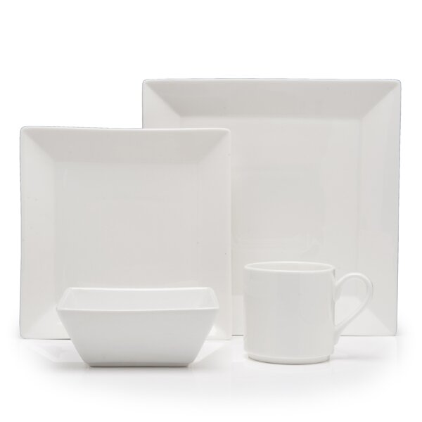 Plaza Vitrified China 16 Piece Dinnerware Set, Service for 4 by Fortessa