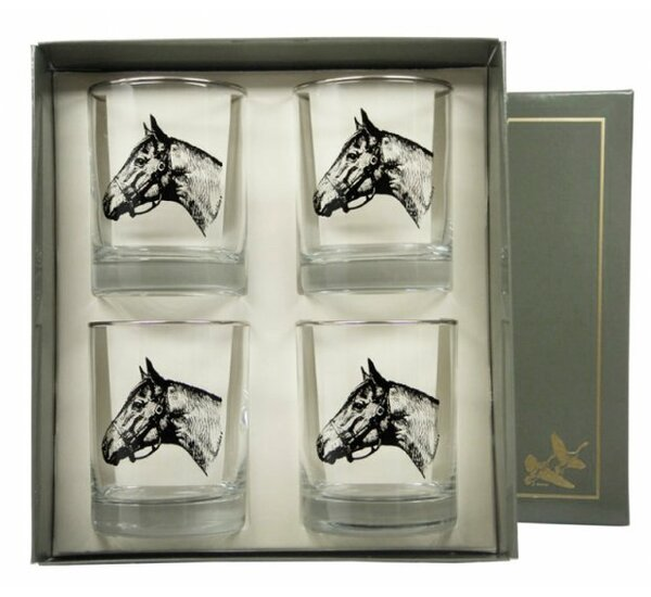Seabiscuit Double 14 oz. Old Fashioned Glass (Set of 4) by Richard E. Bishop