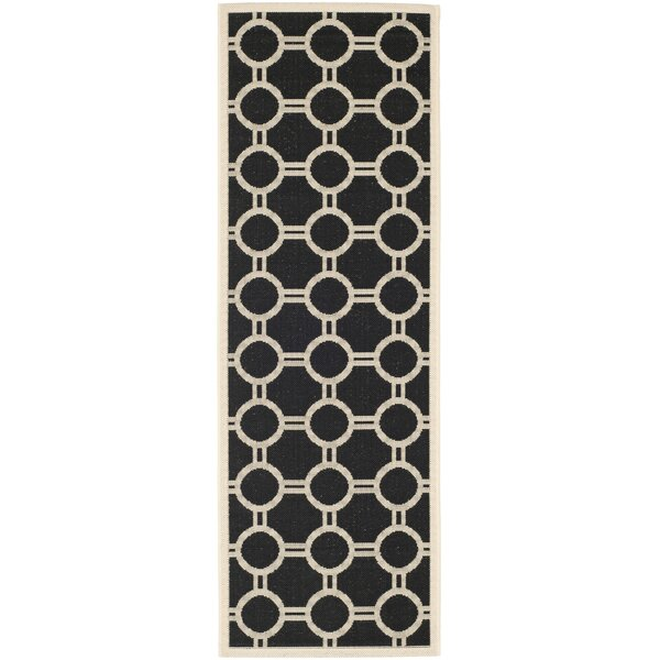 Jefferson Place Black/Beige Outdoor Rug by Wrought Studio