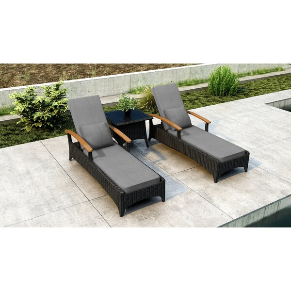 Aisha Sun Lounger Reclining with Cushions and Table