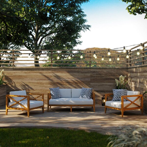 Dowell Outdoor Patio 3 Piece Teak Sofa Seating Group with Cushions by Breakwater Bay