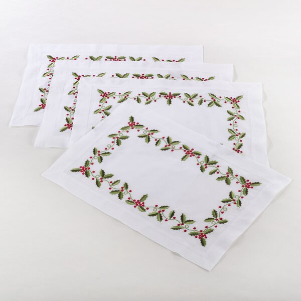 Holiday Holly Embroidered Placemat (Set of 4) by The Holiday Aisle