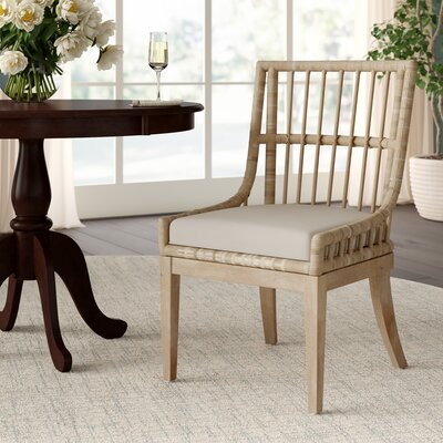 Myers Upholstered Wicker Rattan Slat Back Side Dining Product Photo