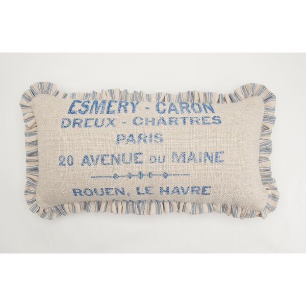 French Words Small Skinny Down Lumbar Pillow by Provence Home Collection