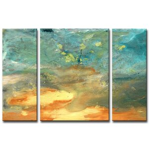 'Abstract Landscape' 3 Piece Painting Print on Wrapped Canvas Set by Wade Logan