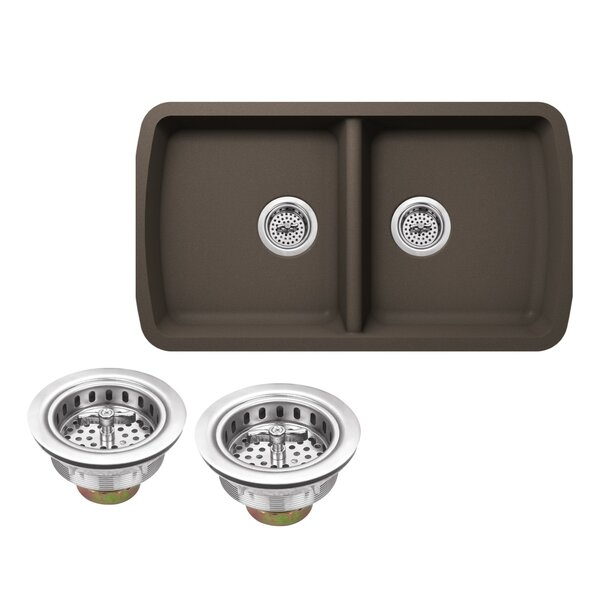 Quartz 33.75 L x 18.94 W Double Basin Undermount Kitchen Sink with Twist and Lock Strainer by Soleil