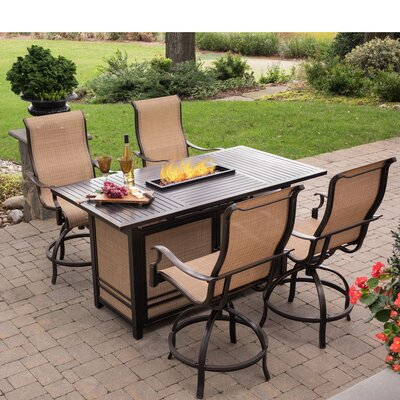 Bucci 5 Pieces High Dining Set With Firepit