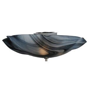 Metro Noir Swirl Organic Art Glass 3-Light Flush Mount