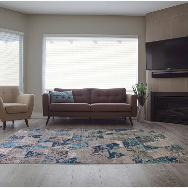 Crossett Triangles Teal/Gray Area Rug by Ebern Designs