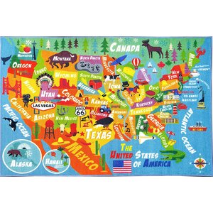 Weranna USA United States Geography Map Educational Learning Blue/Orange Indoor/Outdoor Area Rug