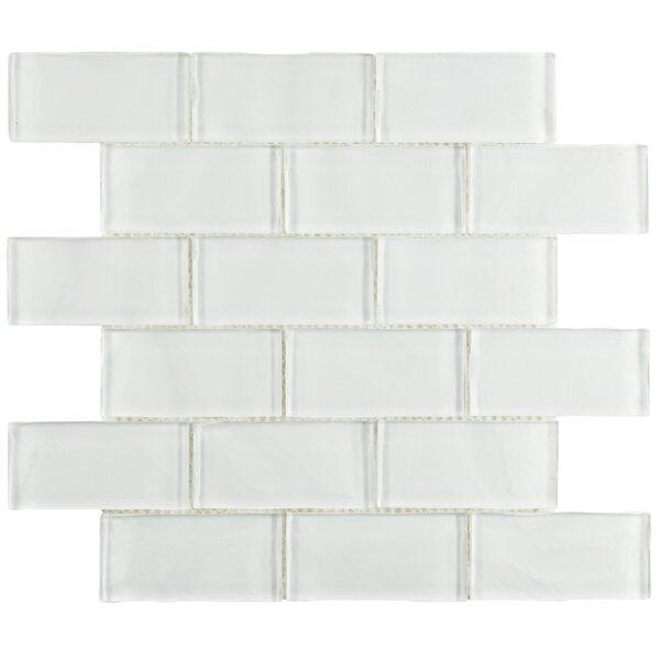 Sierra 1.88 x 3.75 Glass Subway Tile in Ripple White by EliteTile